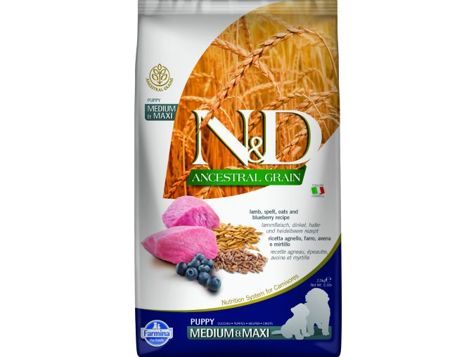 ND Ancestral Grain 2.5kg Puppy medium & maxi LAMB & SPELT [3D Front]@print