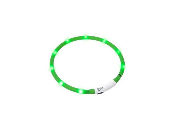 Svítící LED obojek pro psy zelený nabíjecí 20 - 75 cm