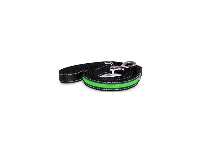 LED vodítko pro psa s USB dobíjením - zelená