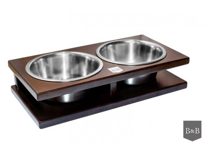 Luxusní miska pro psa Grande kaštan 2 x 0,75 l