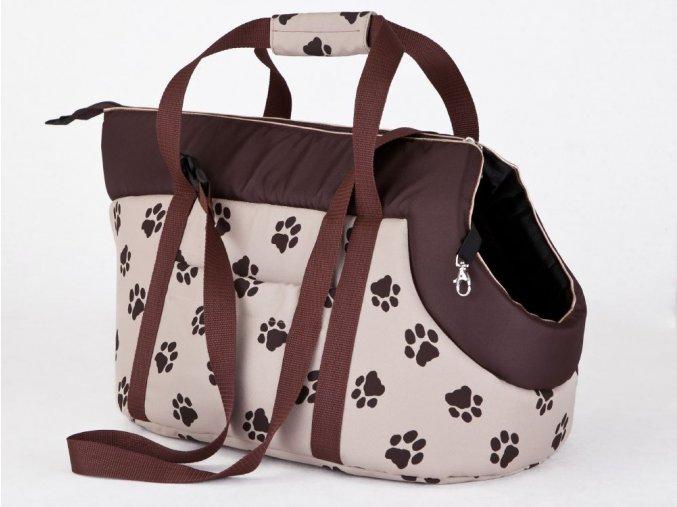 Taška pro psa cestovní - béžová packy