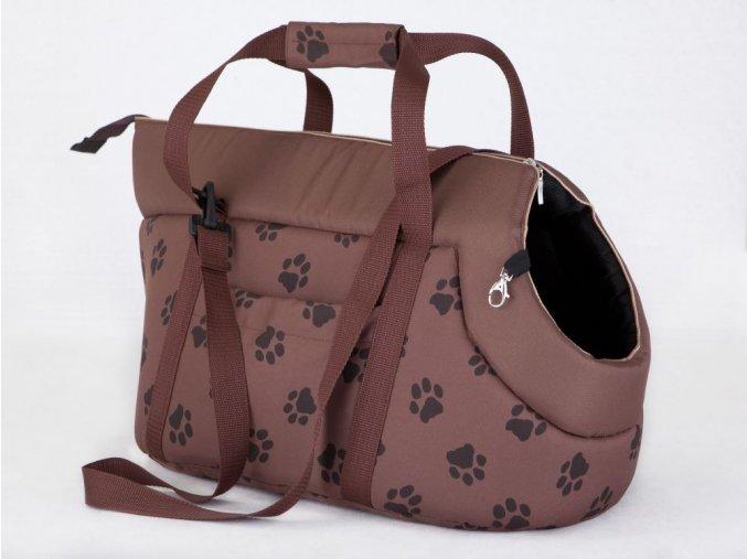 Taška pro psa cestovní - sv. hnědá a packy