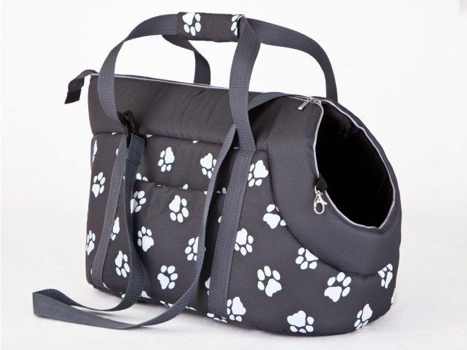 Taška pro psa cestovní - šedá a packy