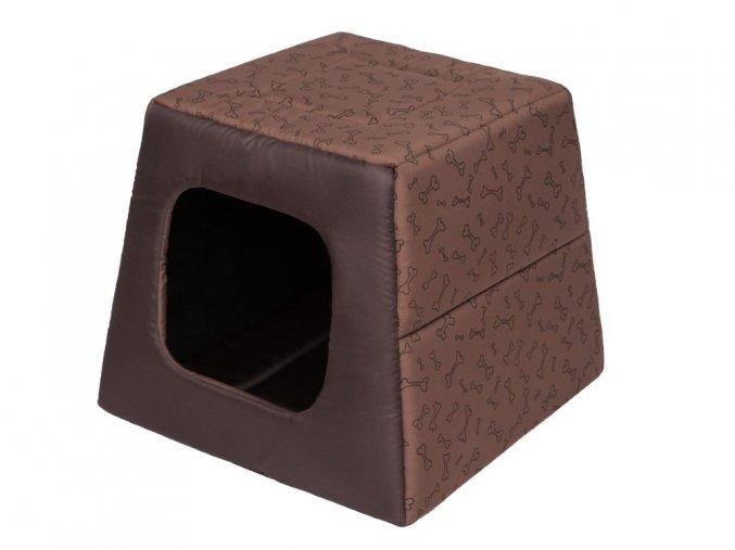 Pelíšek pro psa Pyramida - sv. hnědá a kosti