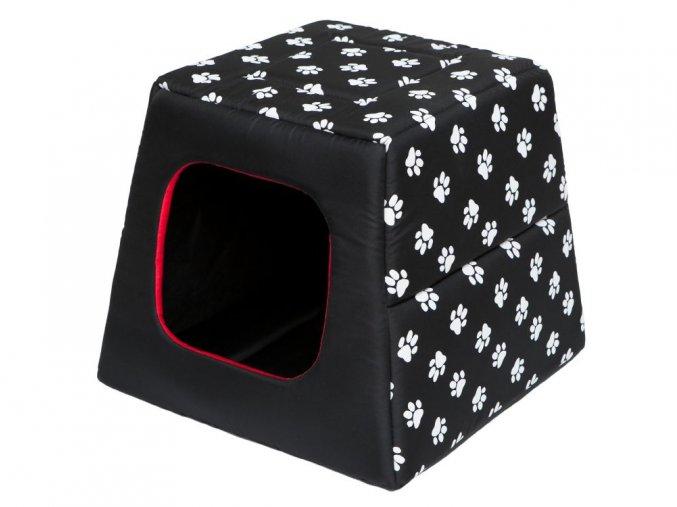 Pelíšek pro psa Pyramida - černá a packy