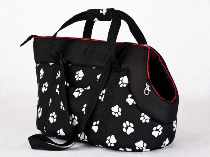 Taška pro psa cestovní - černá a packy