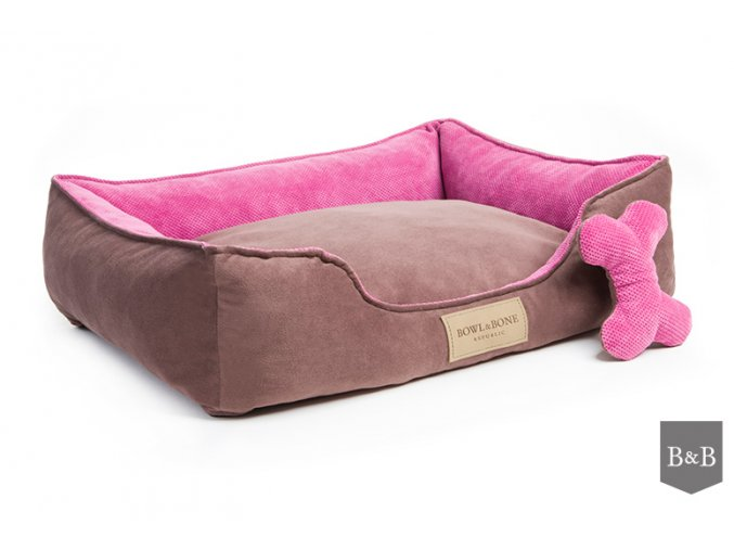 Luxusni pelisek pro psa Classic Pink Bowl and Bone