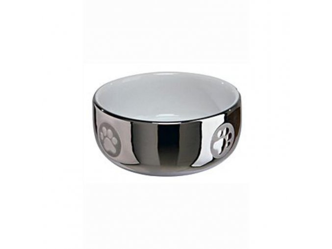 Keramická miska pro psy - stříbrná