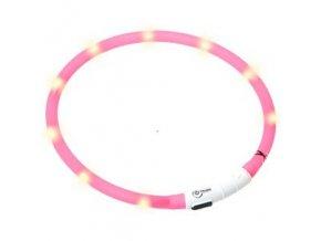 Svítící LED obojek pro psy růžový nabíjecí 20 - 75 cm
