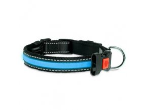 USB svítící LED obojek pro psy modrý
