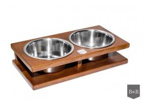 Luxusní miska pro psa Grande ořech 2 x 0,75 l