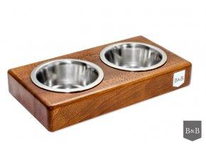 Luxusní miska pro psa Duo dřevo ořech
