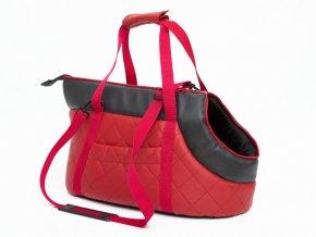 Taška pro psa cestovní - červená eko kůže