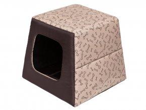 Pelíšek pro psa Pyramida - béžová a kosti