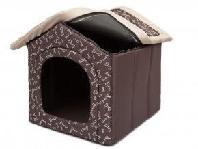textilni bouda pro psa hneda hobbydog