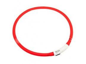 Svítící LED obojek pro psy červený nabíjecí 20 - 75 cm