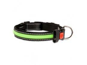 USB svítící LED obojek pro psy zelený