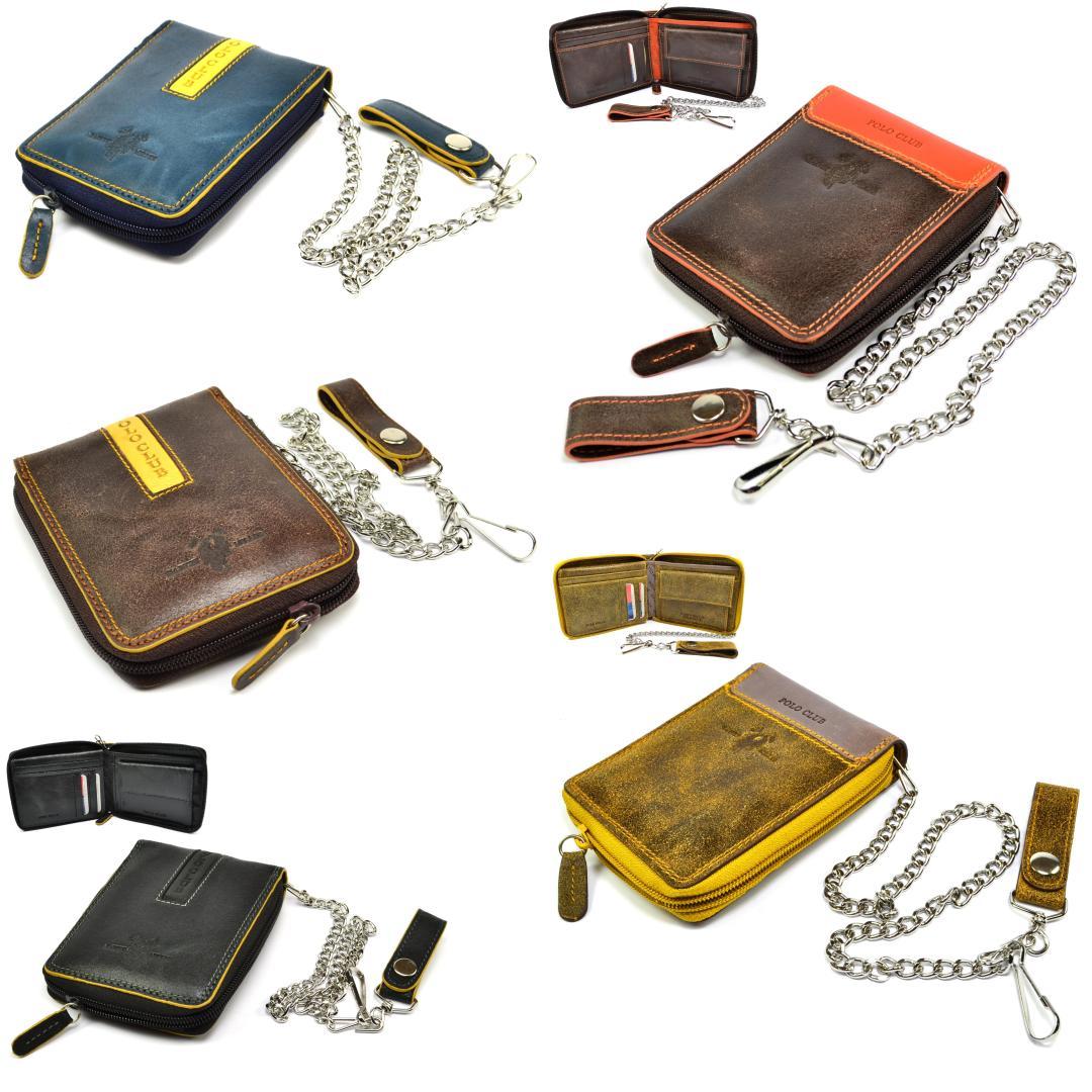 Pánské kožené peněženky s řetízkem