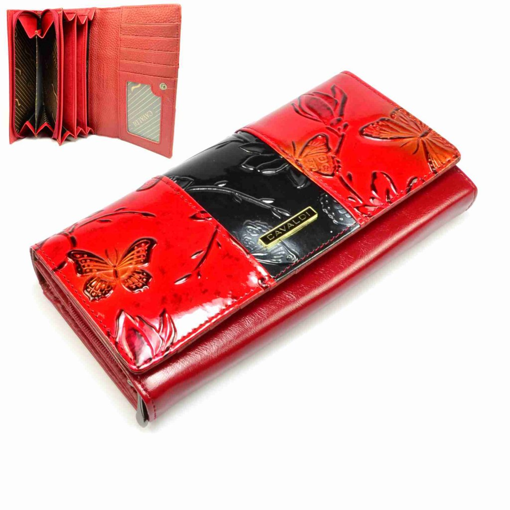 Červená dámská kožená peněženka s pruhem