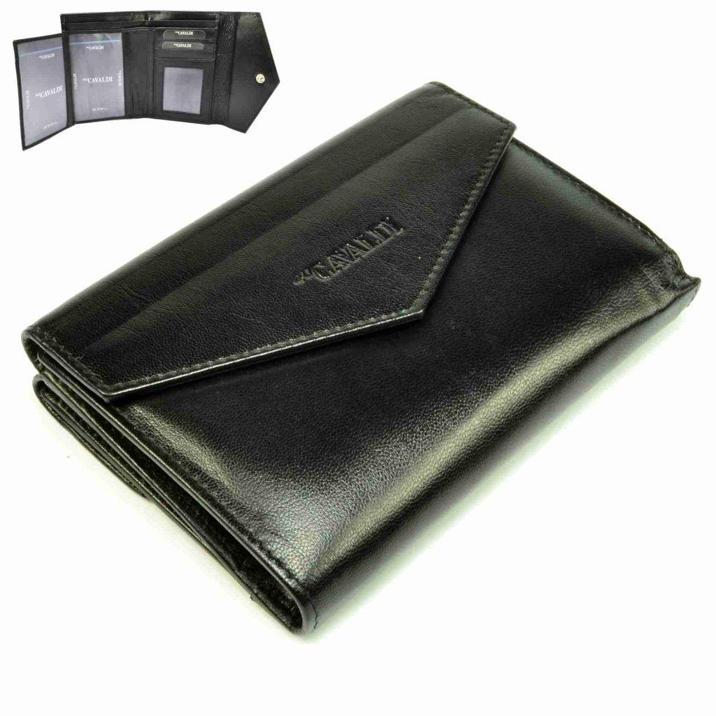Černá kožená dámská peněženka