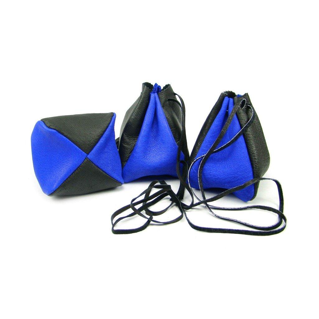Kožený měšec modrý-černý - 1