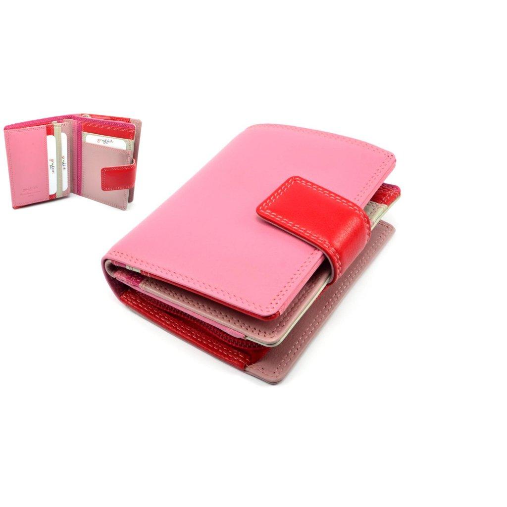 Dámská luxusní peněženka kožená růžová