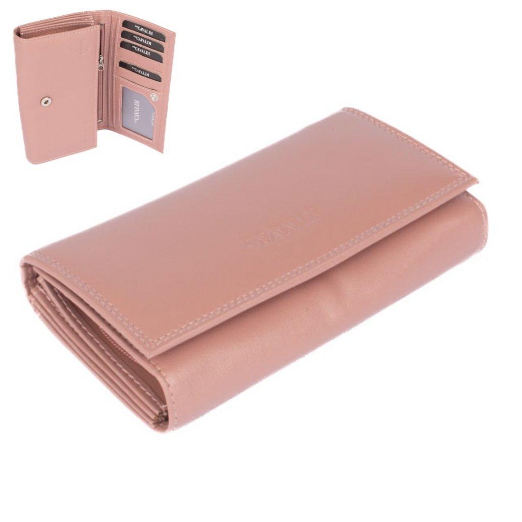Růžová luxusní dámská kožená peněženka