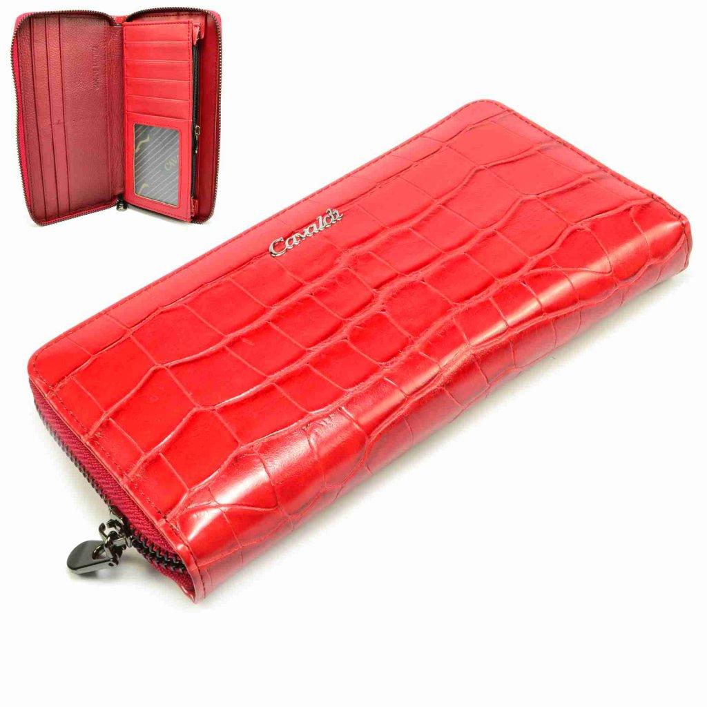 Červená peněženka kožená dámská