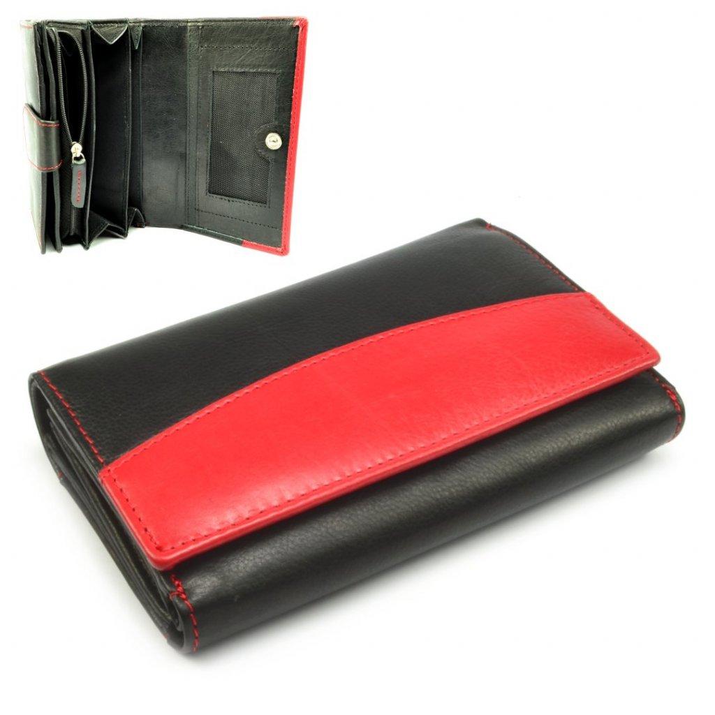 Černá dámská kožená peněženka s pruhem - 1