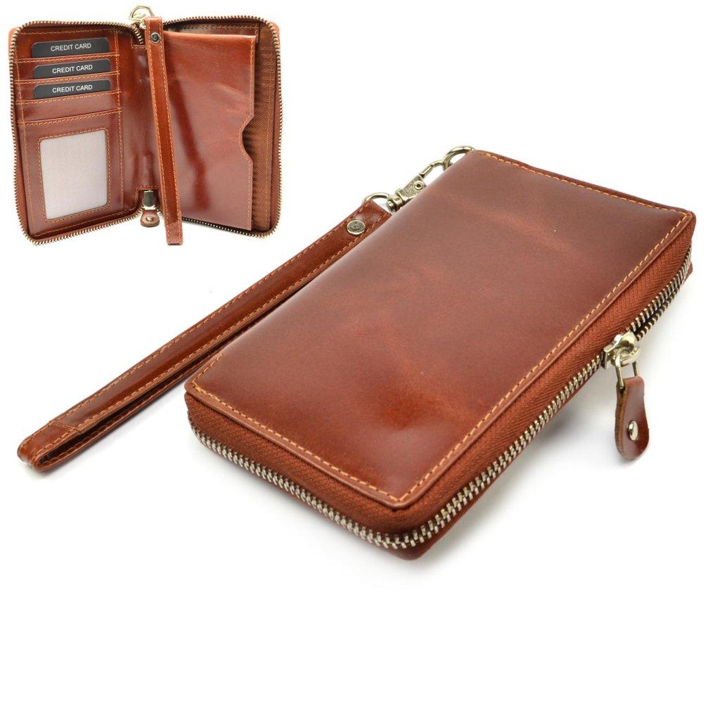 Hnědá peněženka kožená dámská - 1