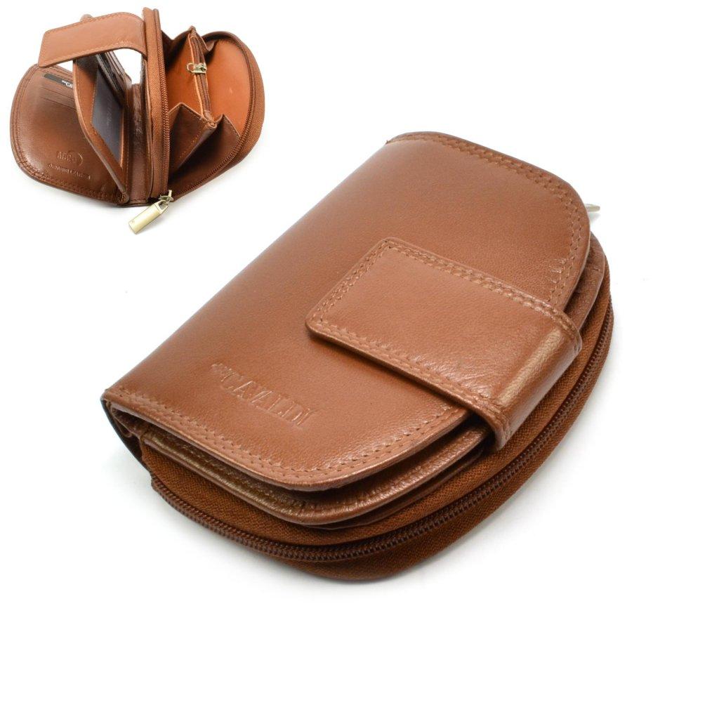 Dámská kožená peněženka světle hnědá - 1