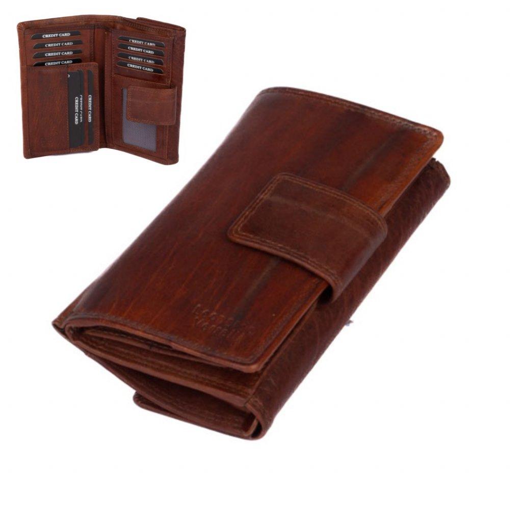 Hnědá dámská peněženka velká - 1