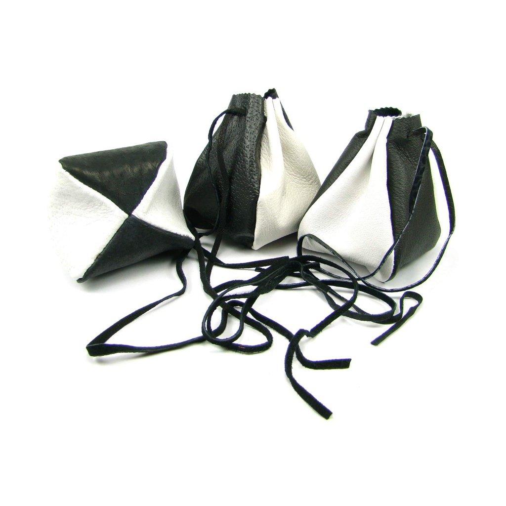 Kožený měšec světle šedý-černý