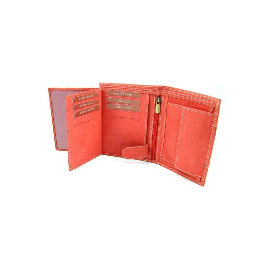 Pánská kožená peněženka lososová - 1