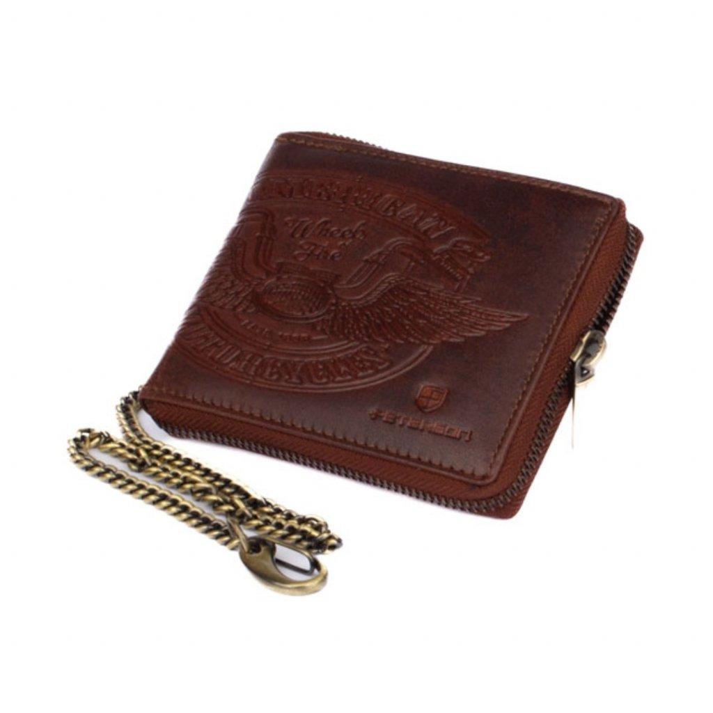 Hnědá pánská peněženka na zip kožená s řetízkem - 2