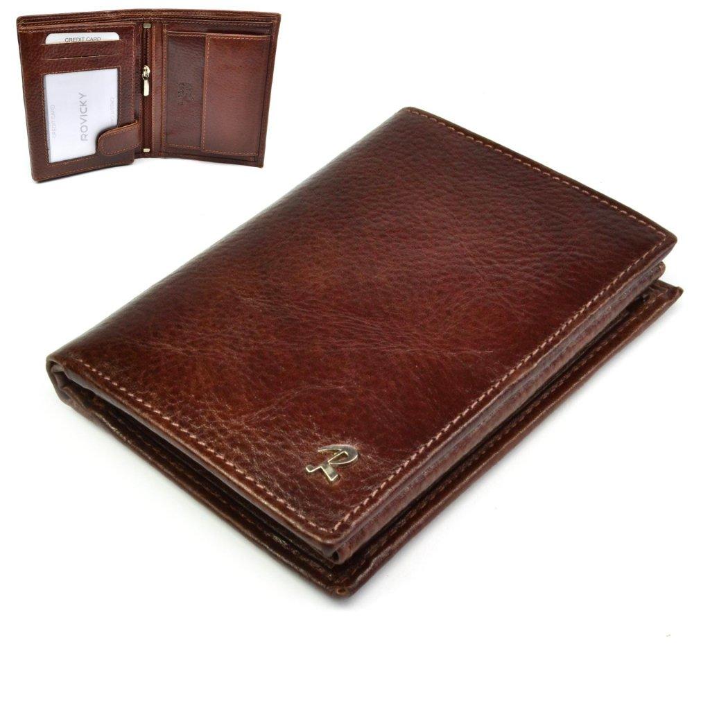 Kožená hnědá peněženka pánská