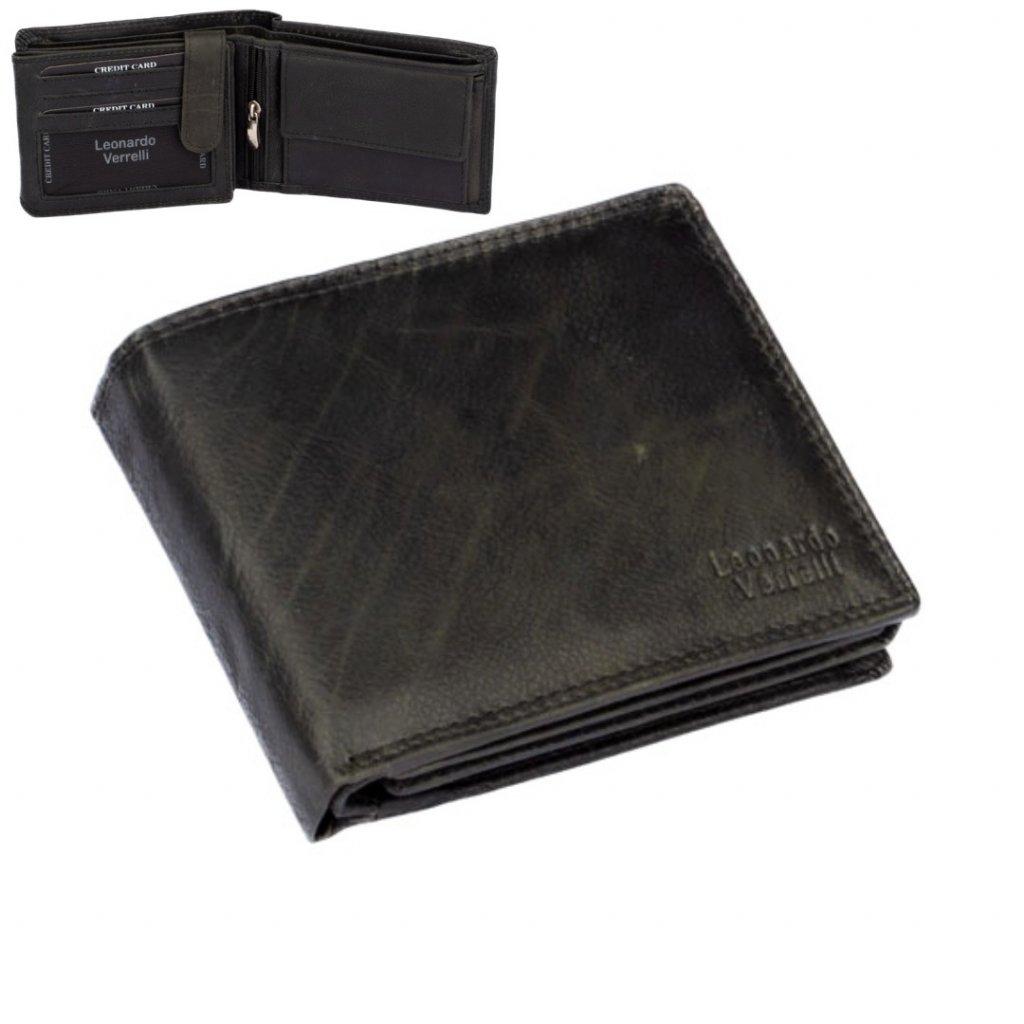 Pánská kožená peněženka šedo-černá
