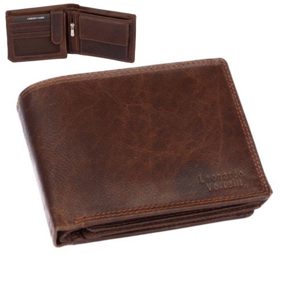 Pánská kožená peněženka červenohnědá
