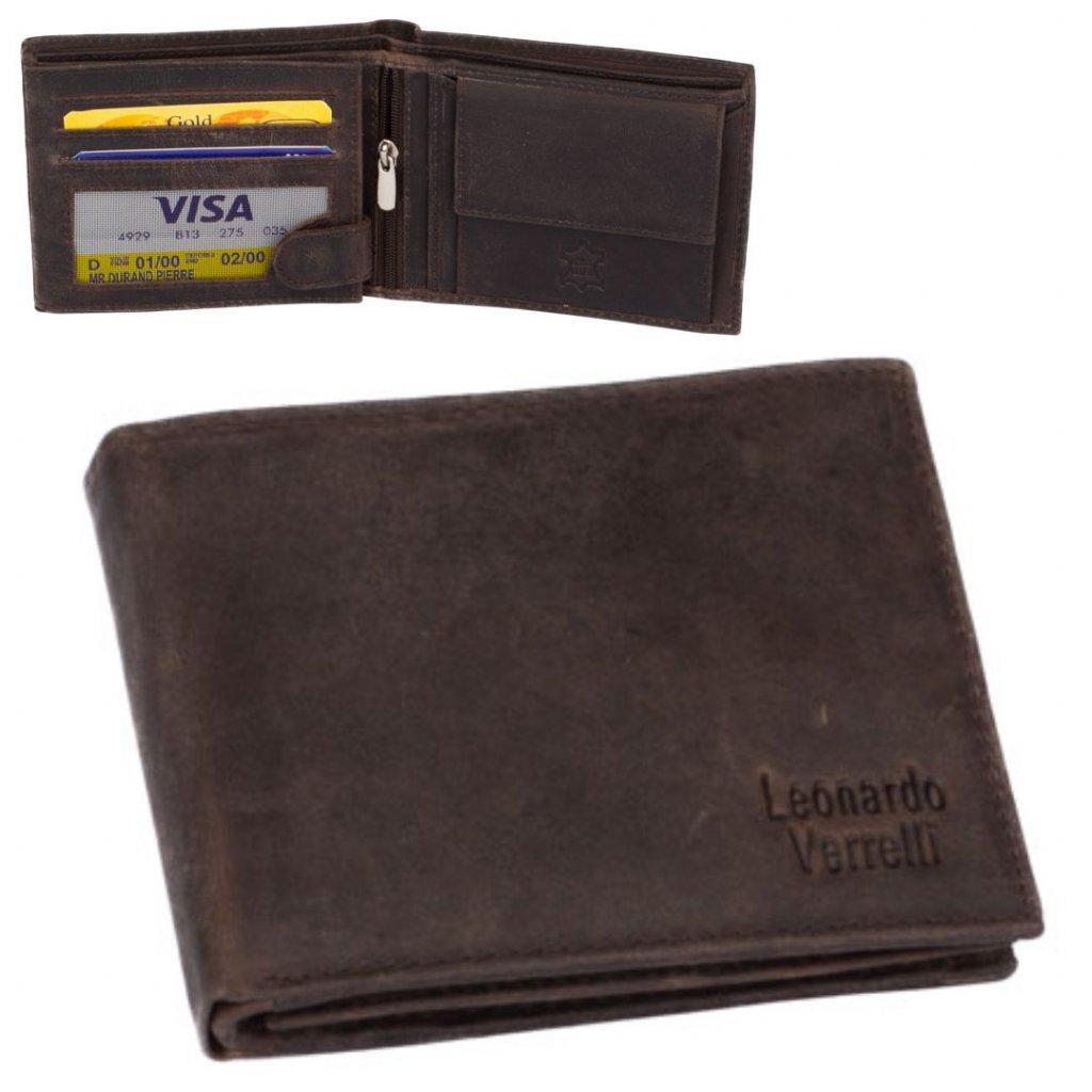 Kožená peněženka pánská tmavě hnědá - 1