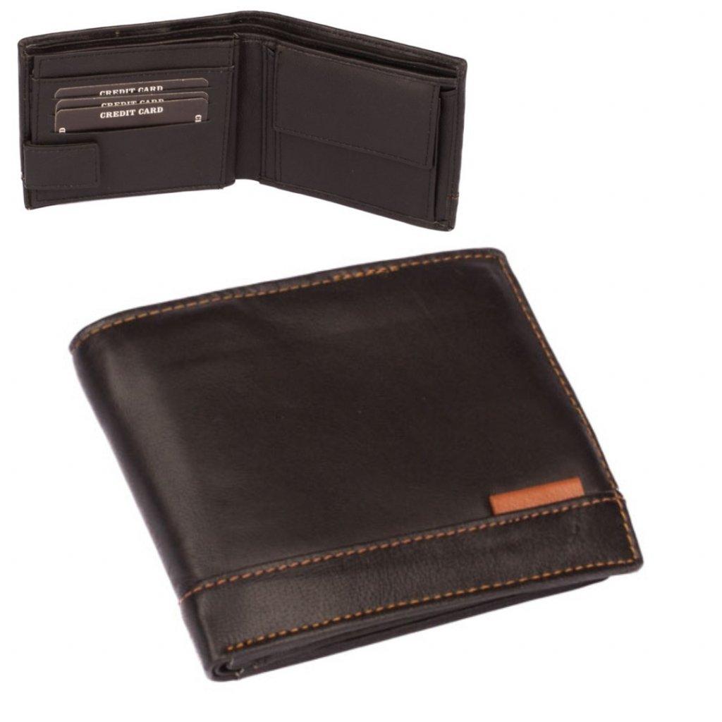 Kožená pánská černá peněženka
