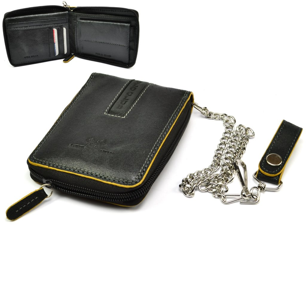 Kožená černá pánská peněženka
