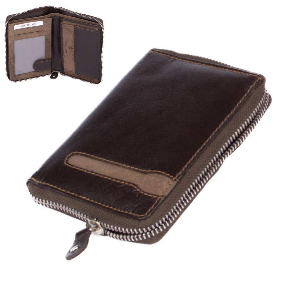 Tmavě hnědá peněženka pánská na zip