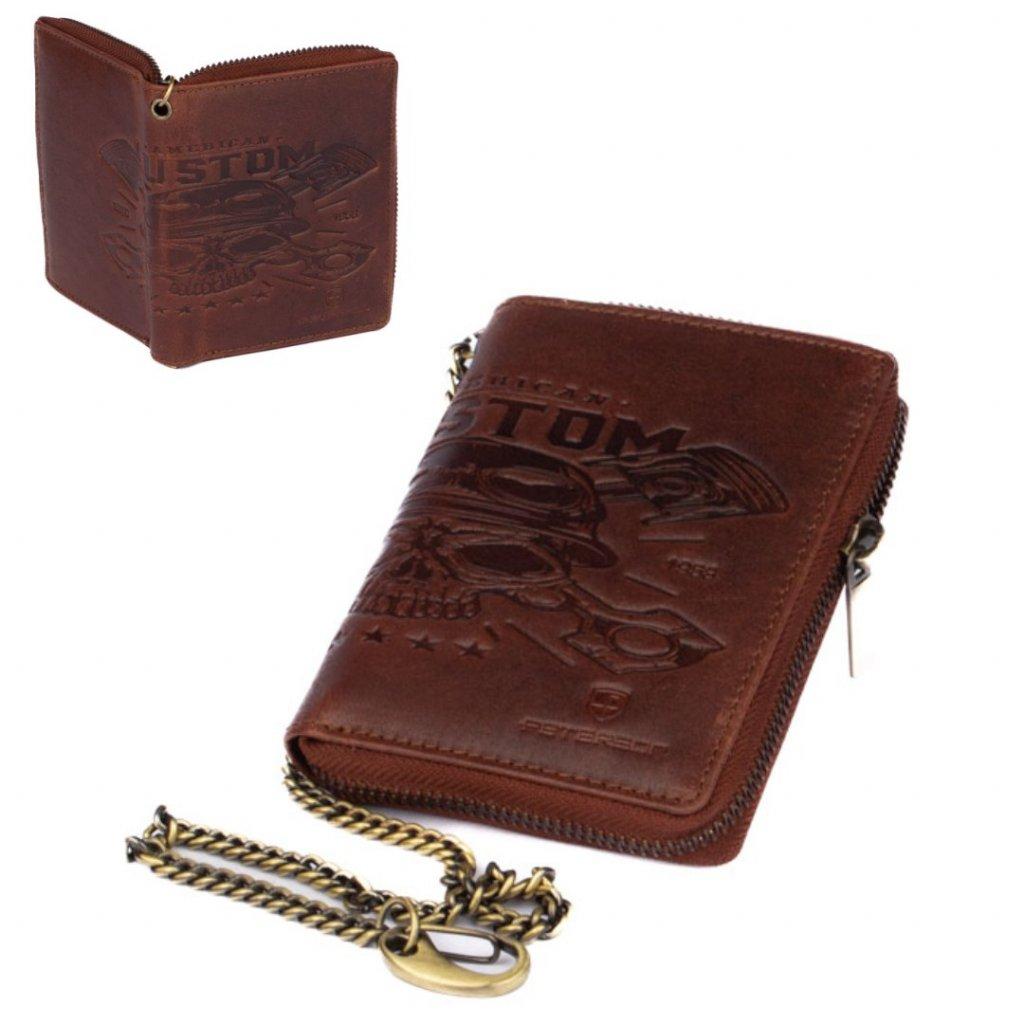 Velká kožená pánská peněženka na zip s přezkou
