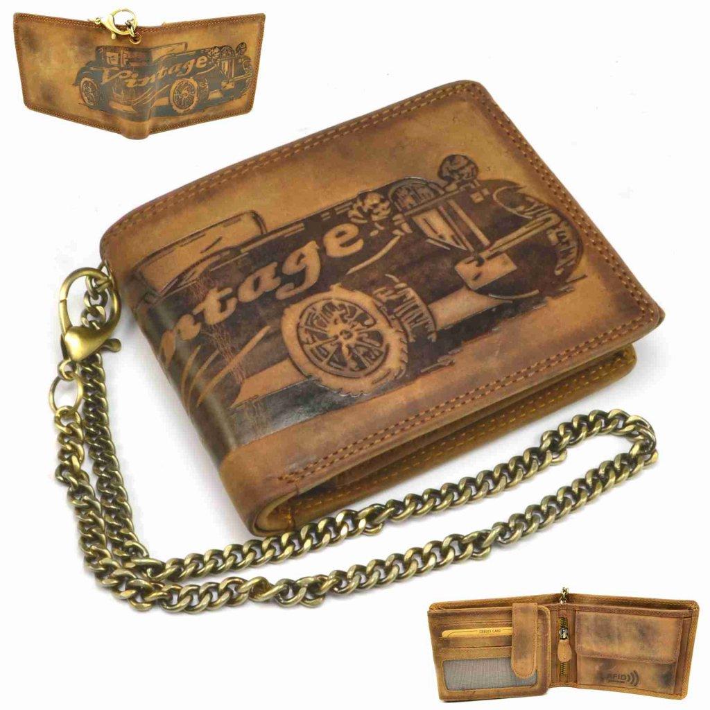 Pánská kožená peněženka s řetězem