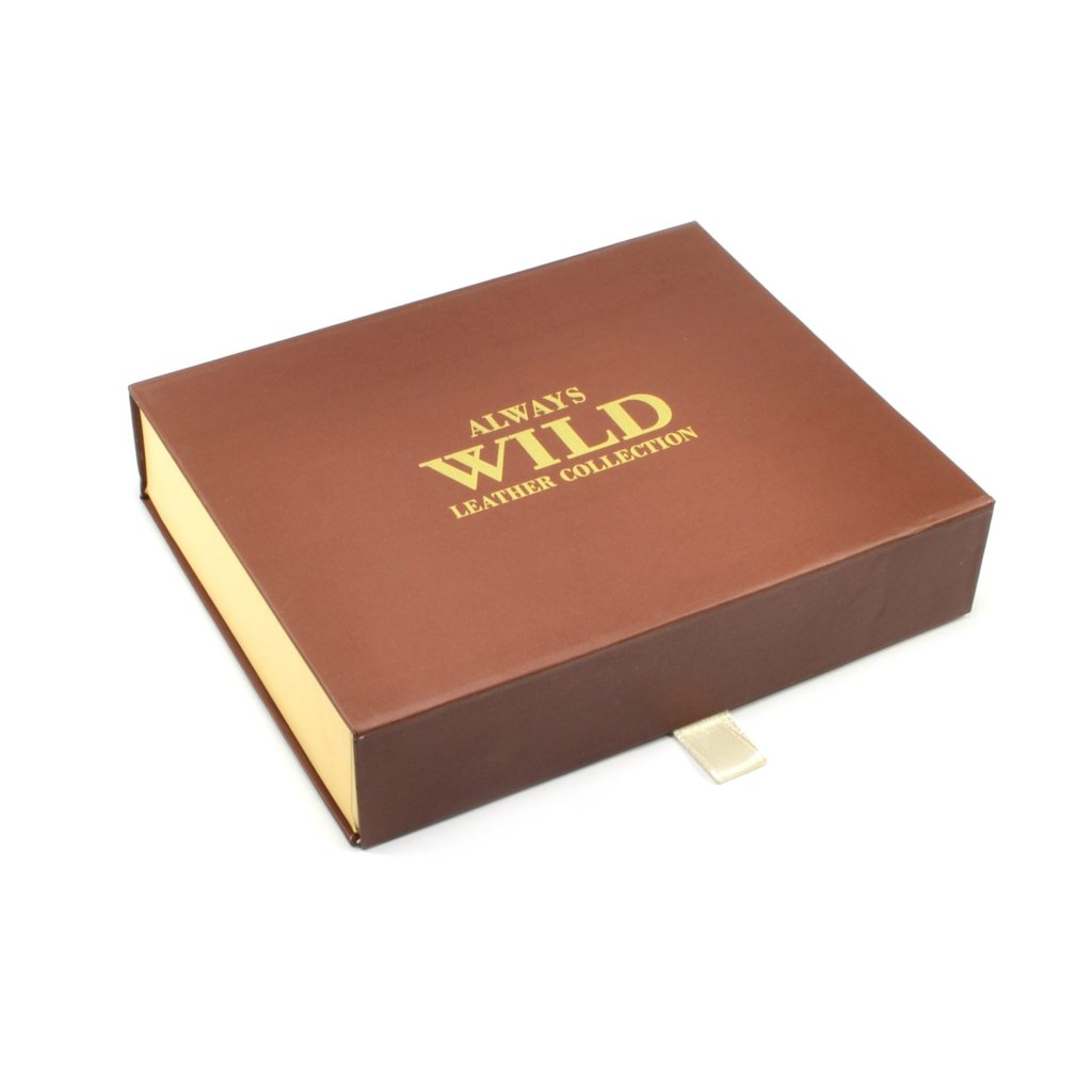 Hnědá pánská peněženka na zip - 1