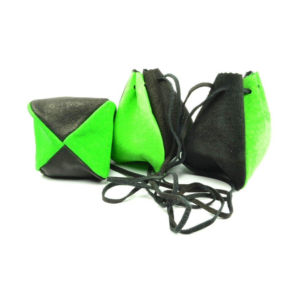 Kožený měšec zelený-černý