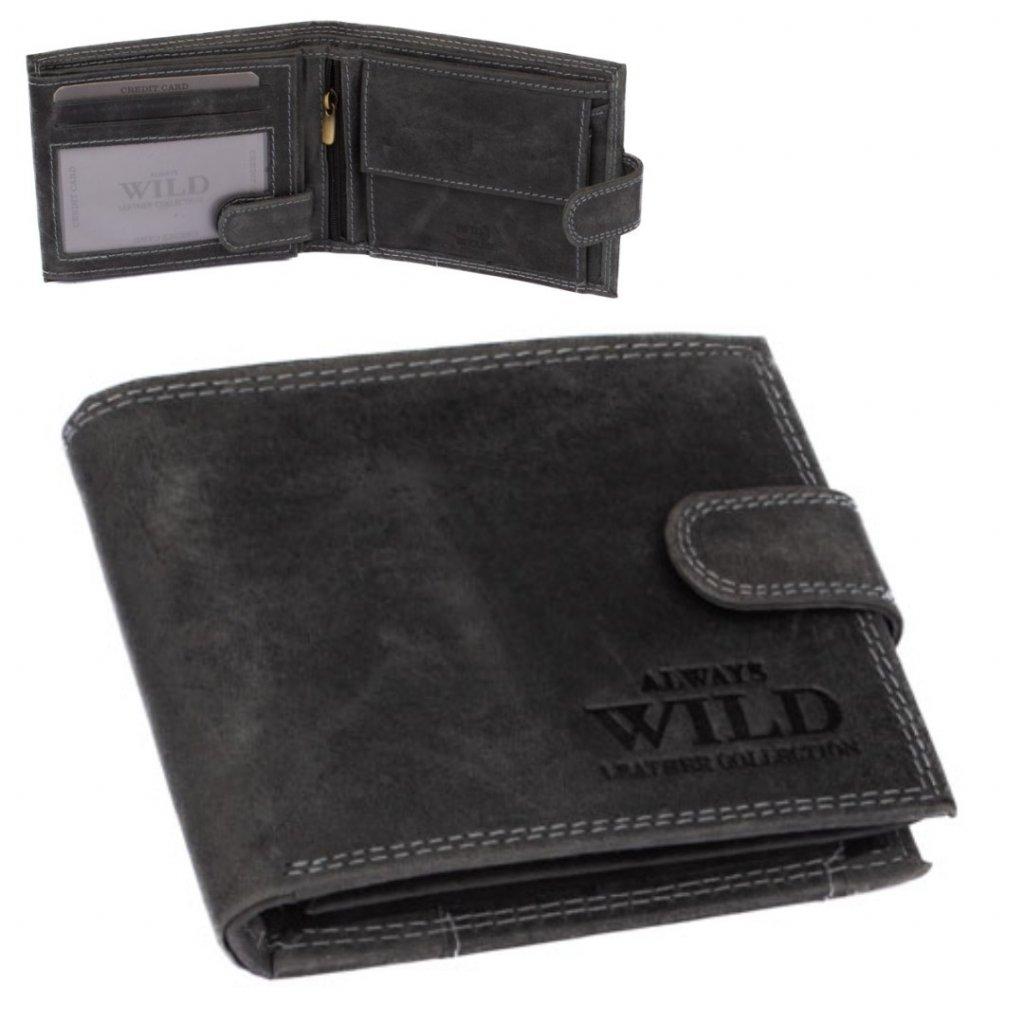 Kožená peněženka pánská šedá