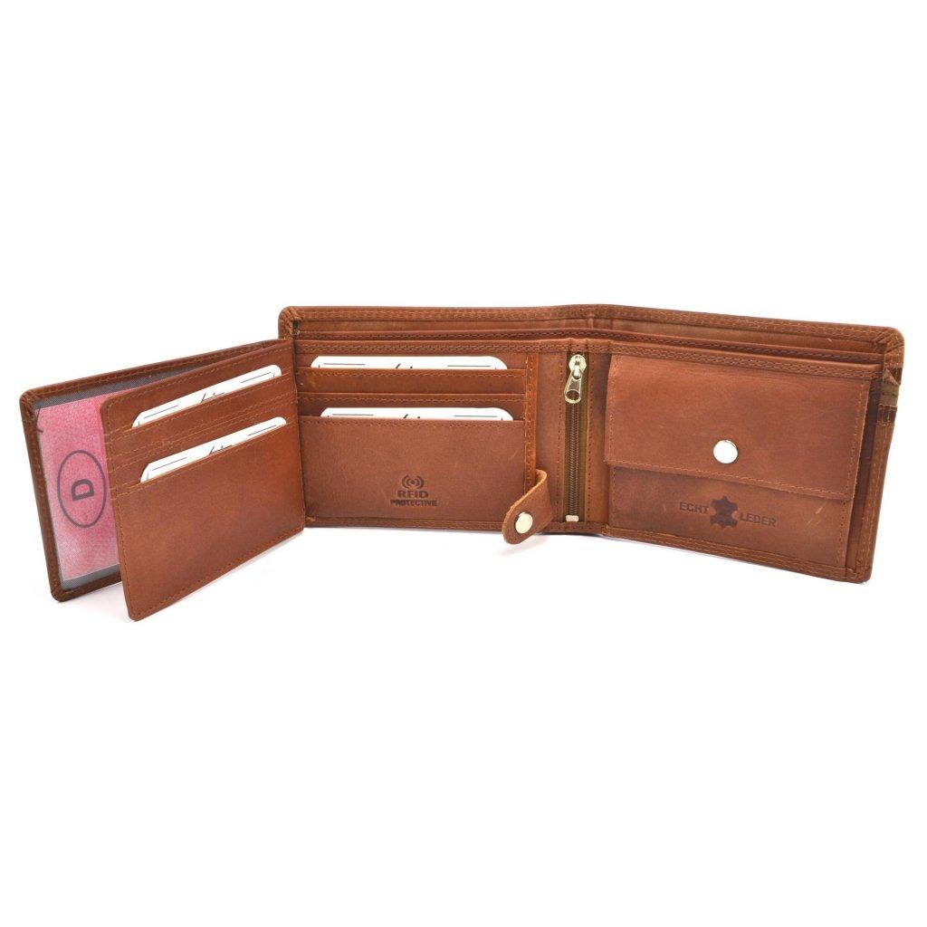 Pánská hnědá kožená peněženka - 7
