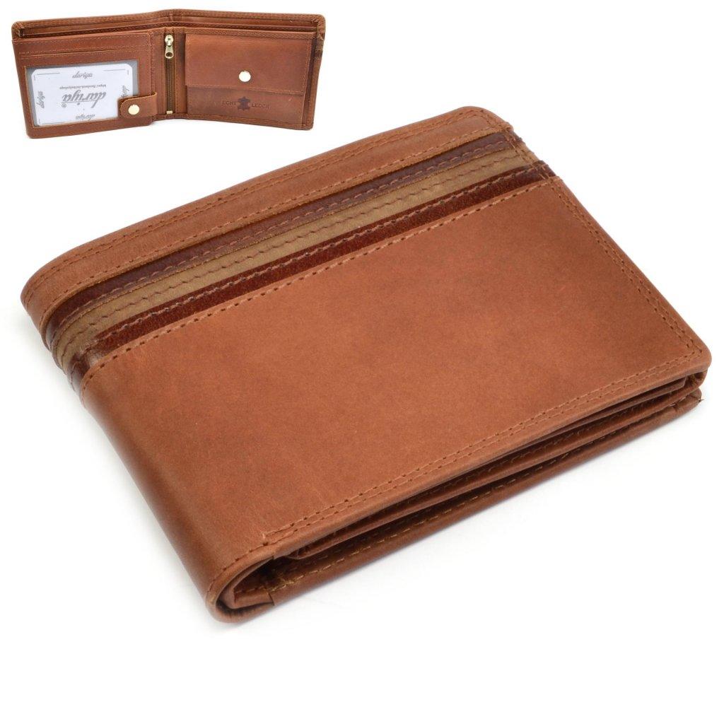 Pánská hnědá kožená peněženka