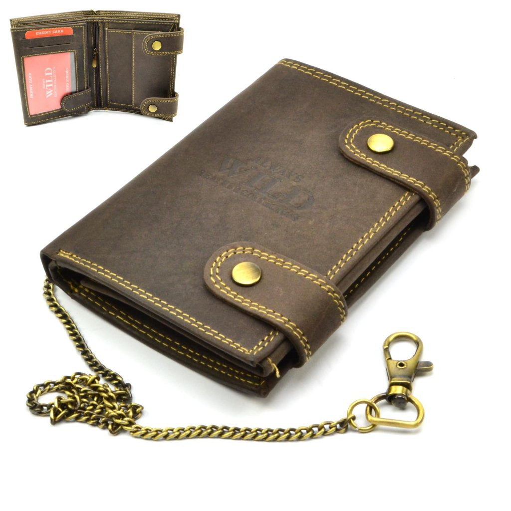Kožená hnědá peněženka pánská s přezkou